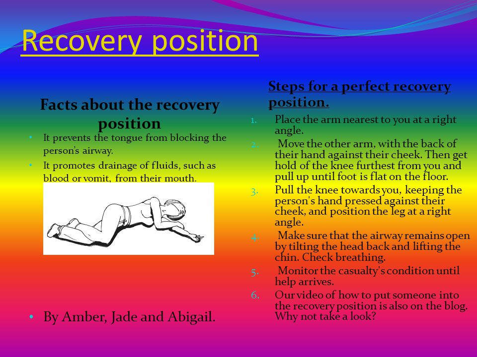 Recovery position Facts about the recovery position Steps for a perfect recovery position.