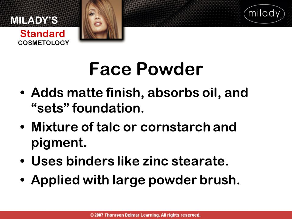 """MILADY'S Standard Instructor Support Slides COSMETOLOGY Face Powder Adds matte finish, absorbs oil, and """"sets"""" foundation. Mixture of talc or cornstar"""