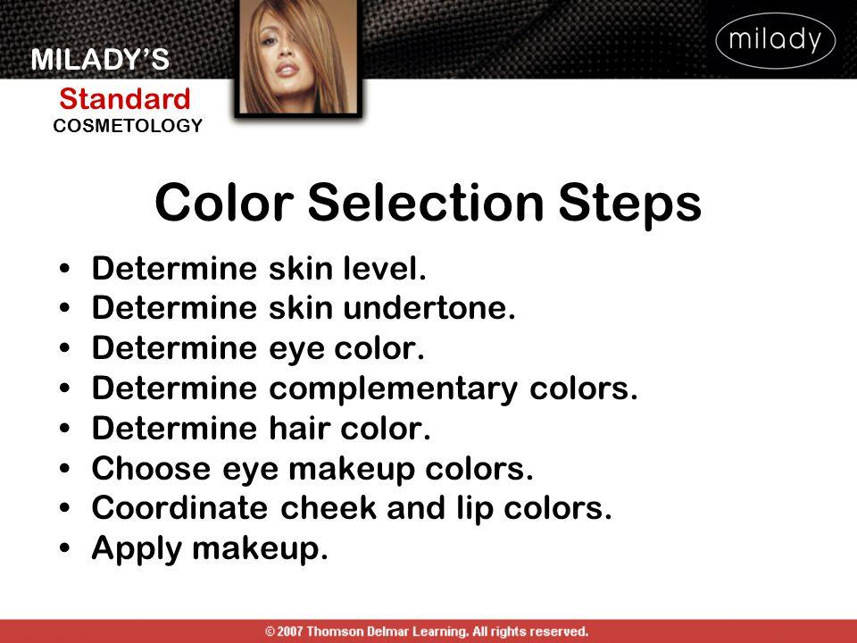 MILADY'S Standard Instructor Support Slides COSMETOLOGY Color Selection Steps Determine skin level. Determine skin undertone. Determine eye color. Det