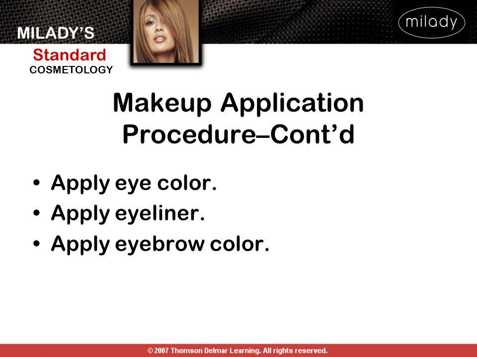 MILADY'S Standard Instructor Support Slides COSMETOLOGY Apply eye color. Apply eyeliner. Apply eyebrow color. Makeup Application Procedure–Cont'd
