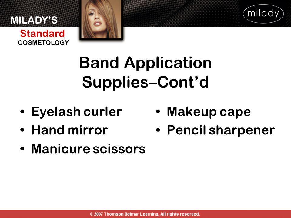 MILADY'S Standard Instructor Support Slides COSMETOLOGY Eyelash curler Hand mirror Manicure scissors Makeup cape Pencil sharpener Band Application Sup