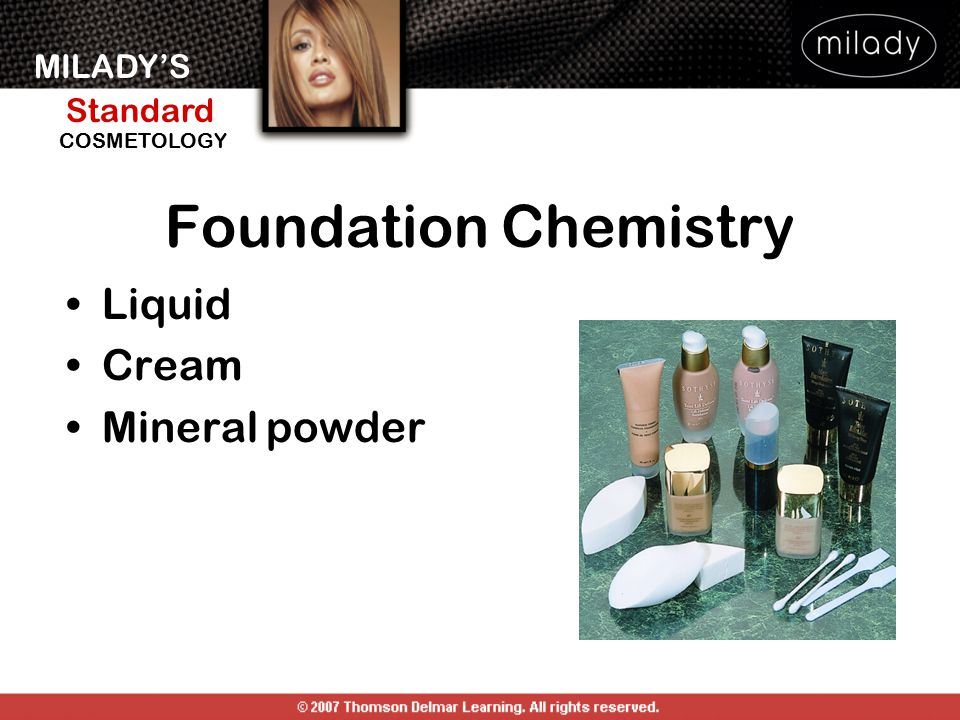 MILADY'S Standard Instructor Support Slides COSMETOLOGY Foundation Selection and Use Match to skin tone.
