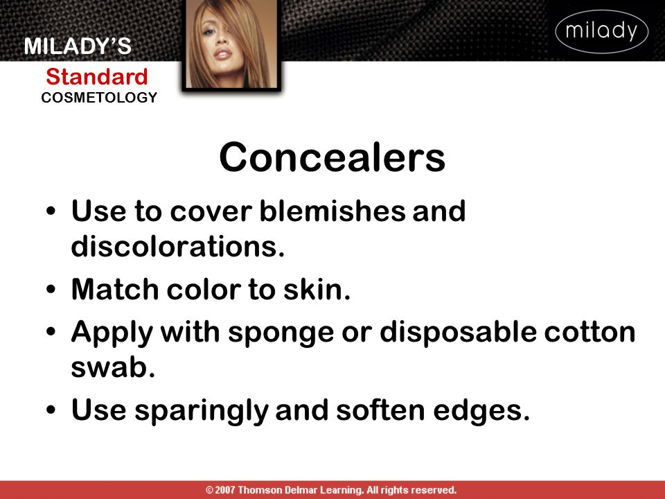 MILADY'S Standard Instructor Support Slides COSMETOLOGY Apply mascara.