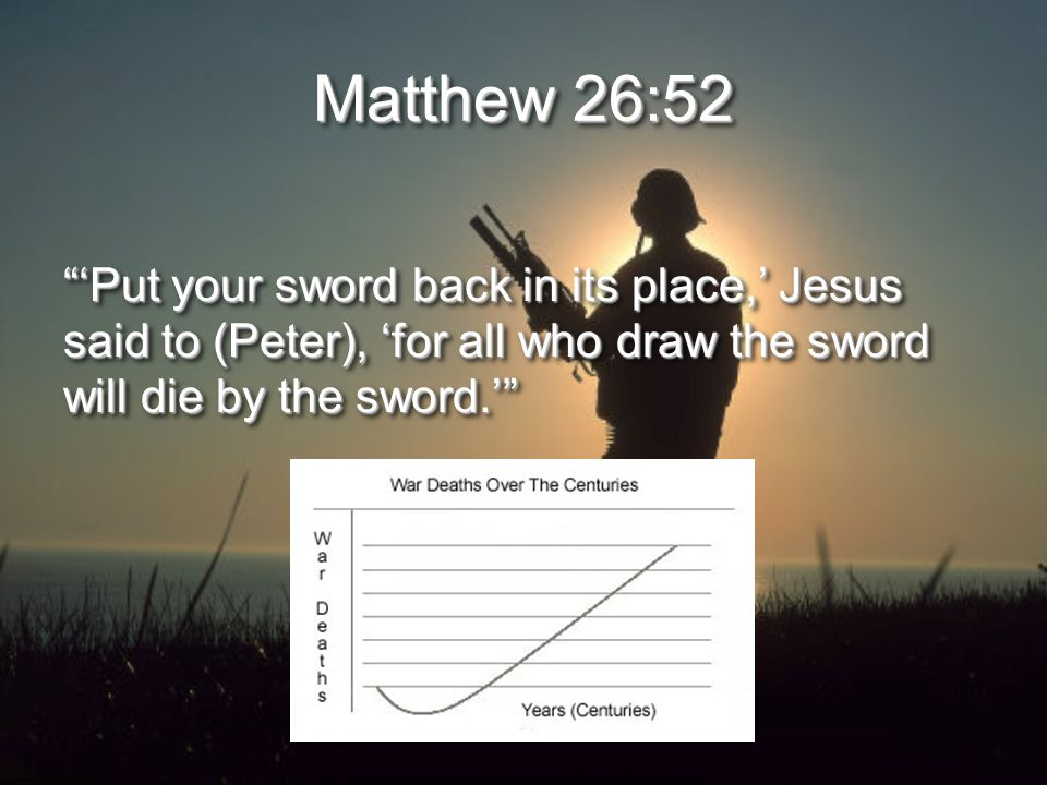 Matthew 26:52 'Put your sword back in its place,' Jesus said to (Peter), 'for all who draw the sword will die by the sword.'