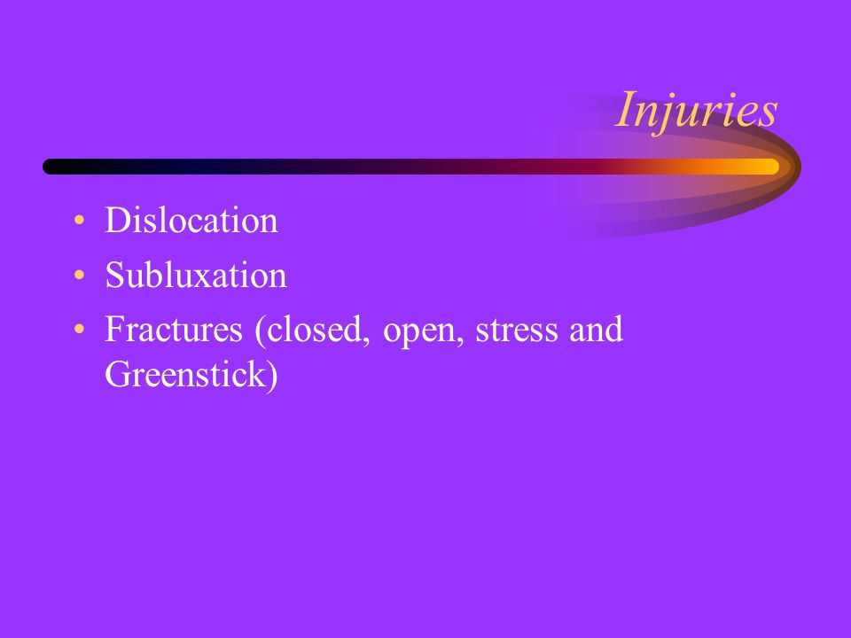 Injuries Dislocation Subluxation Fractures (closed, open, stress and Greenstick)