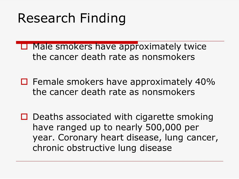 Consequences of Smoking Statistics and Diseases