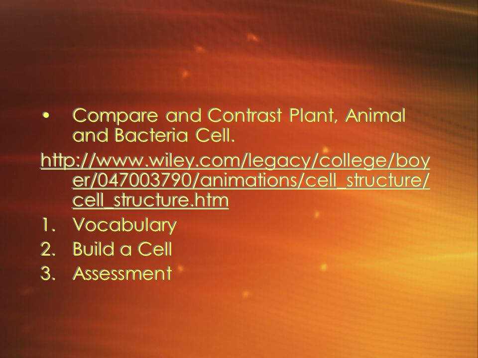 Compare and Contrast Plant, Animal and Bacteria Cell. http://www.wiley.com/legacy/college/boy er/047003790/animations/cell_structure/ cell_structure.h