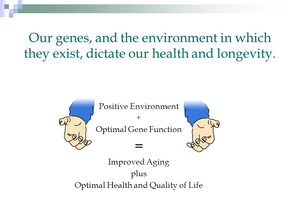 Our genes, and the environment in which they exist, dictate our health and longevity.