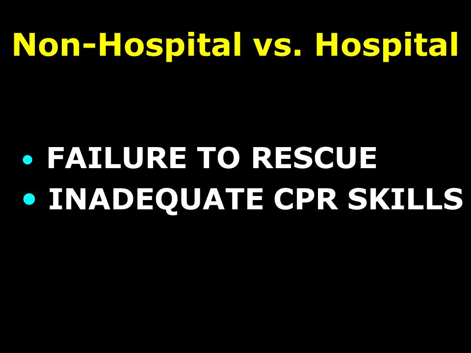 Non-Hospital vs. Hospital FAILURE TO RESCUE INADEQUATE CPR SKILLS