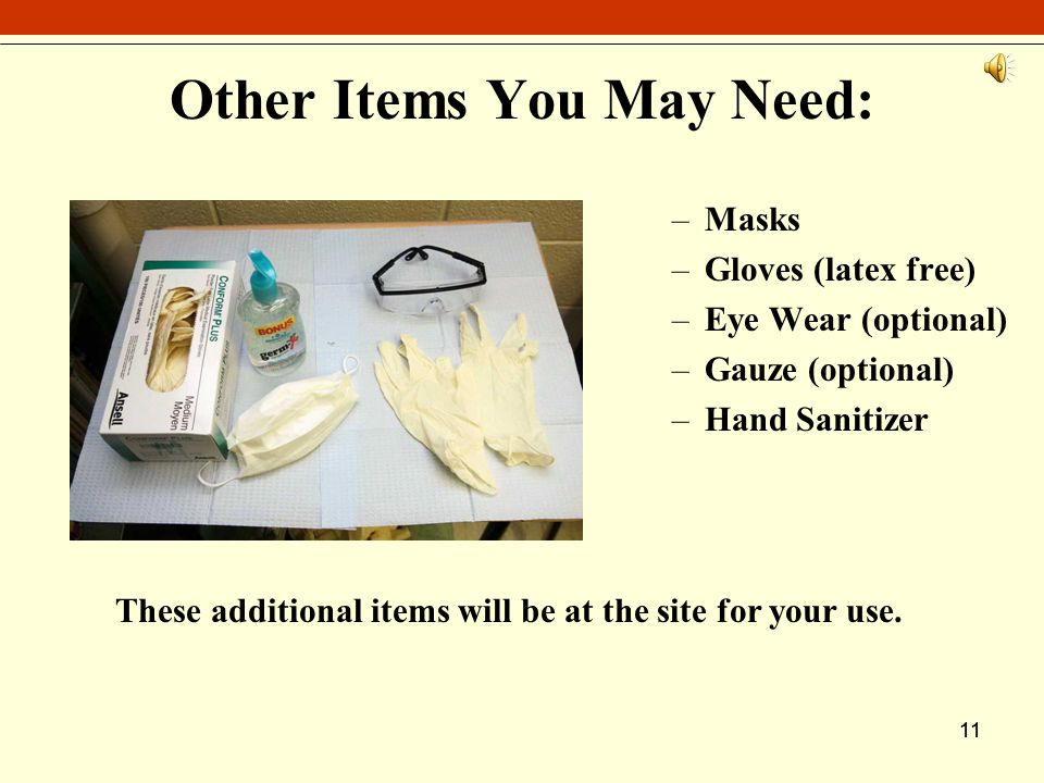 11 Other Items You May Need: –Masks –Gloves (latex free) –Eye Wear (optional) –Gauze (optional) –Hand Sanitizer These additional items will be at the site for your use.