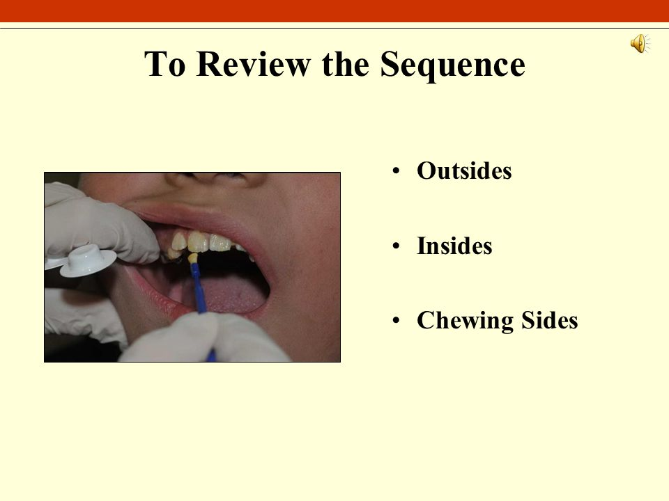 To Review the Sequence Outsides Insides Chewing Sides
