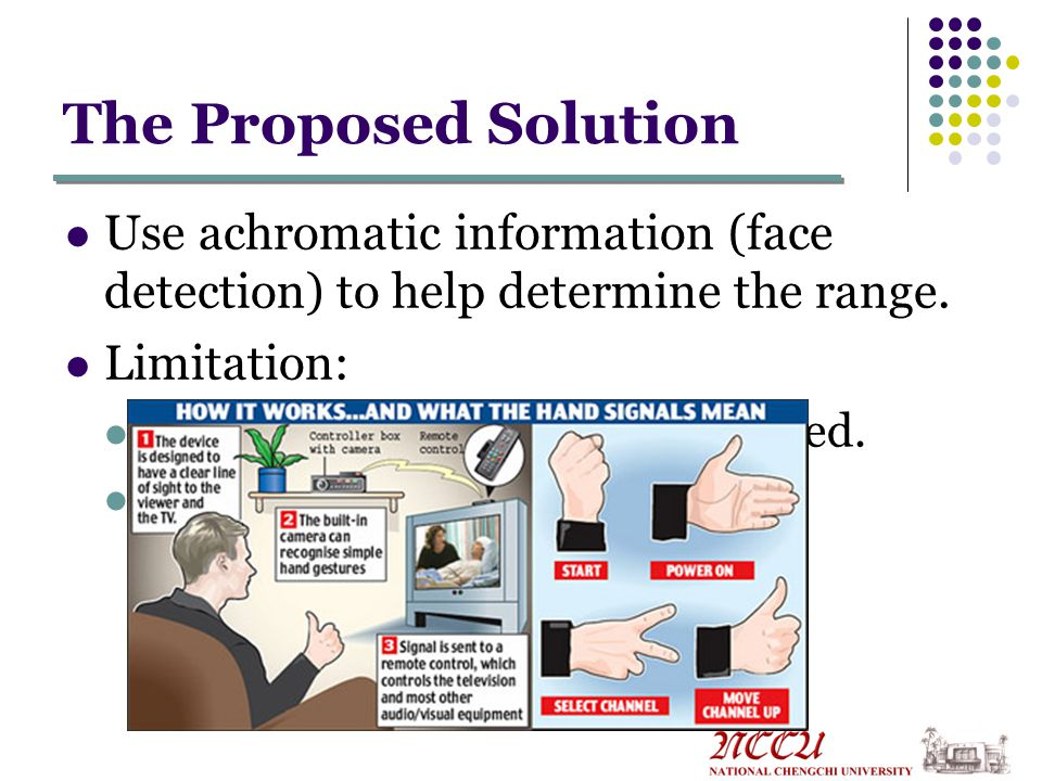The Proposed Solution Use achromatic information (face detection) to help determine the range.