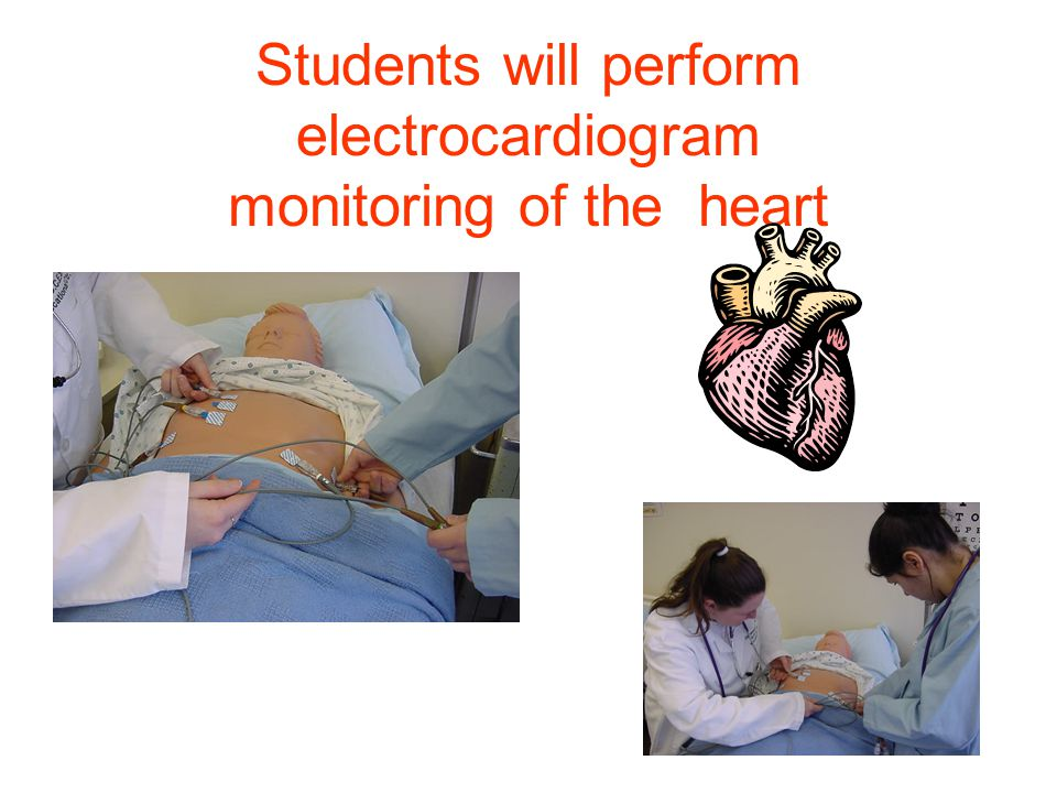 Students will perform electrocardiogram monitoring of the heart