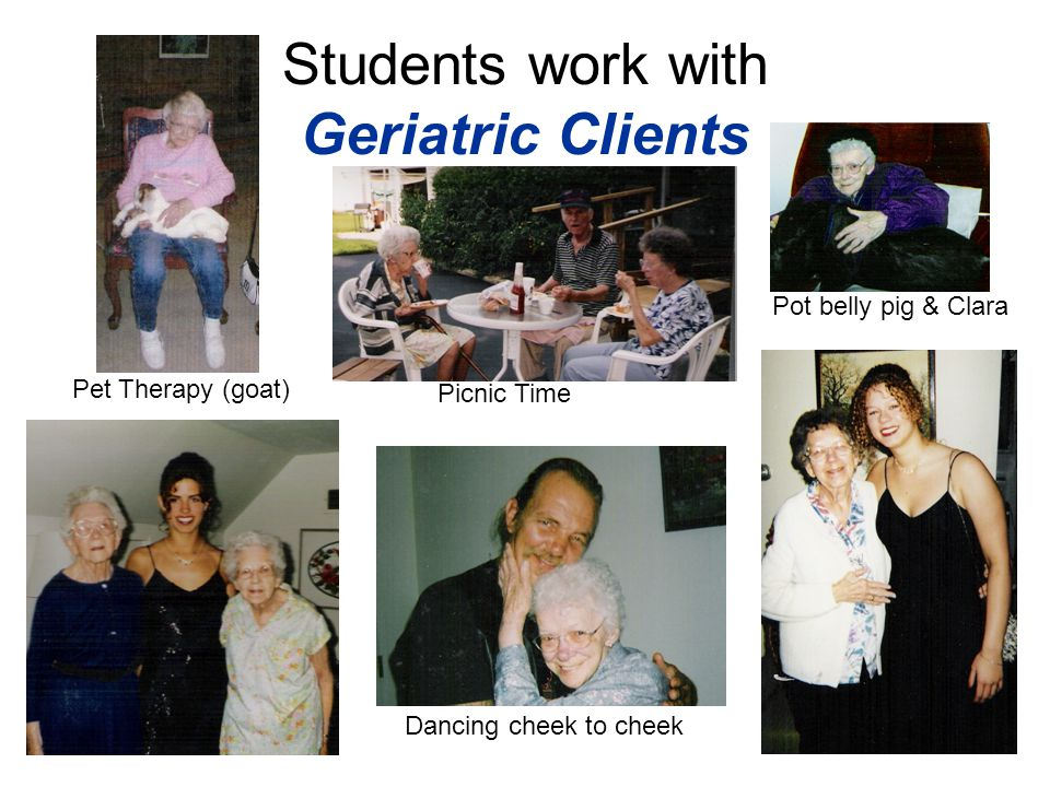 Students work with Geriatric Clients Pet Therapy (goat) Pot belly pig & Clara Picnic Time Dancing cheek to cheek