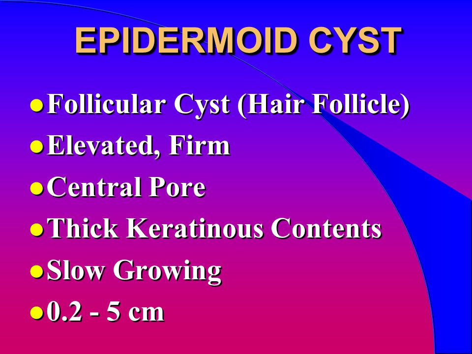 EPIDERMOID CYST l Follicular Cyst (Hair Follicle) l Elevated, Firm l Central Pore l Thick Keratinous Contents l Slow Growing l 0.2 - 5 cm l Follicular Cyst (Hair Follicle) l Elevated, Firm l Central Pore l Thick Keratinous Contents l Slow Growing l 0.2 - 5 cm