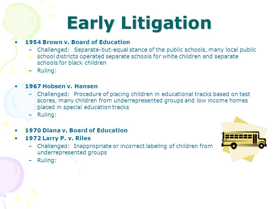 Early Litigation 1954Brown v. Board of Education –Challenged: Separate-but-equal stance of the public schools, many local public school districts oper