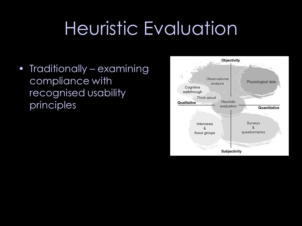 Heuristic Evaluation Traditionally – examining compliance with recognised usability principles