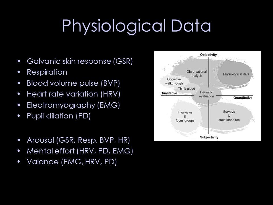Physiological Data Galvanic skin response (GSR) Respiration Blood volume pulse (BVP) Heart rate variation (HRV) Electromyography (EMG) Pupil dilation (PD) Arousal (GSR, Resp, BVP, HR) Mental effort (HRV, PD, EMG) Valance (EMG, HRV, PD)