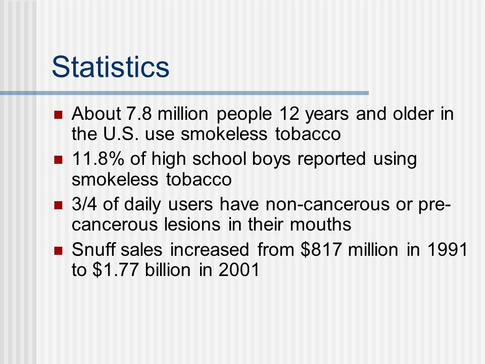 MYTH Smokeless tobacco is a safe alternative to cigarettes.