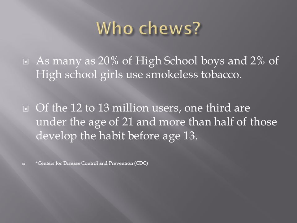  As many as 20% of High School boys and 2% of High school girls use smokeless tobacco.