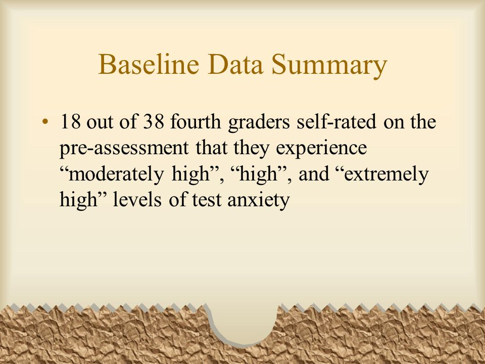 "Baseline Data Summary 18 out of 38 fourth graders self-rated on the pre-assessment that they experience ""moderately high"", ""high"", and ""extremely high"