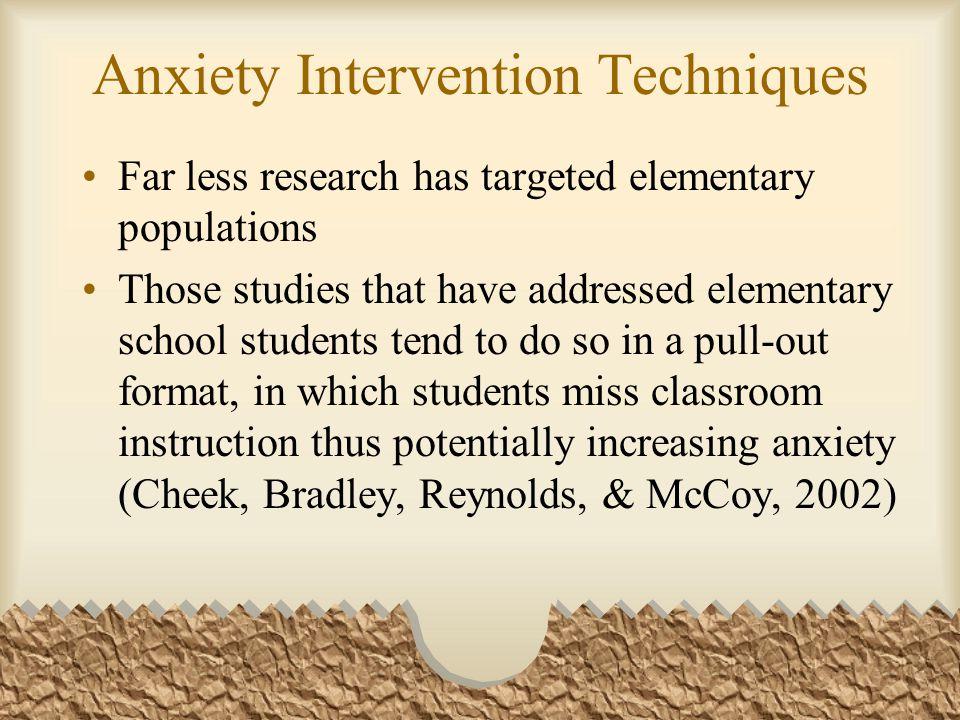 Anxiety Intervention Techniques Cheek, et al.