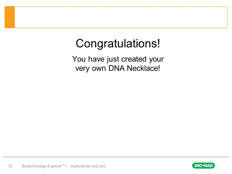 Biotechnology Explorer™ | explorer.bio-rad.com 30 Congratulations! You have just created your very own DNA Necklace!