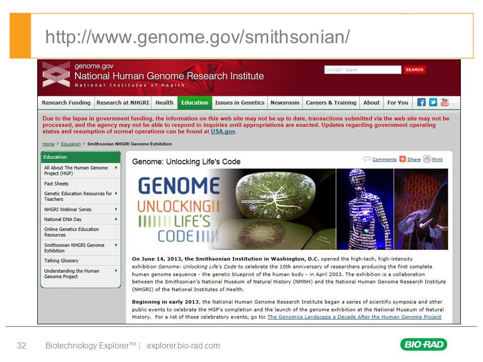 Biotechnology Explorer™ | explorer.bio-rad.com 32 http://www.genome.gov/smithsonian/