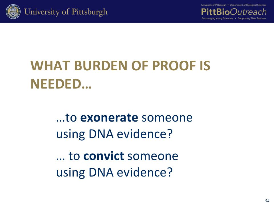 WHAT BURDEN OF PROOF IS NEEDED… …to exonerate someone using DNA evidence.