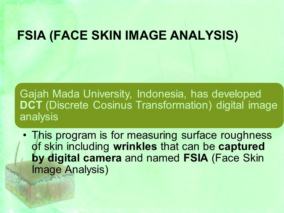 FSIA (FACE SKIN IMAGE ANALYSIS) Gajah Mada University, Indonesia, has developed DCT (Discrete Cosinus Transformation) digital image analysis This program is for measuring surface roughness of skin including wrinkles that can be captured by digital camera and named FSIA (Face Skin Image Analysis)