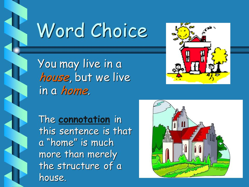 "Word Choice You may live in a house, but we live in a home. You may live in a house, but we live in a home. The in this sentence is that a ""home"" is m"