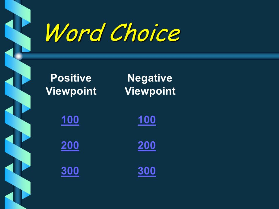 Positive Viewpoint Negative Viewpoint 100 200 300 100 200 300