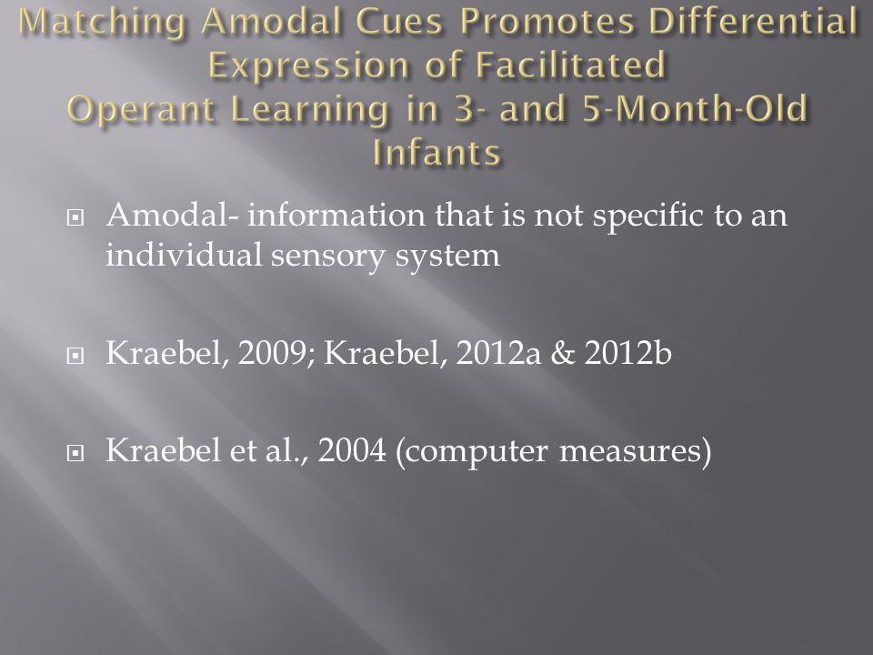  Amodal- information that is not specific to an individual sensory system  Kraebel, 2009; Kraebel, 2012a & 2012b  Kraebel et al., 2004 (computer measures)