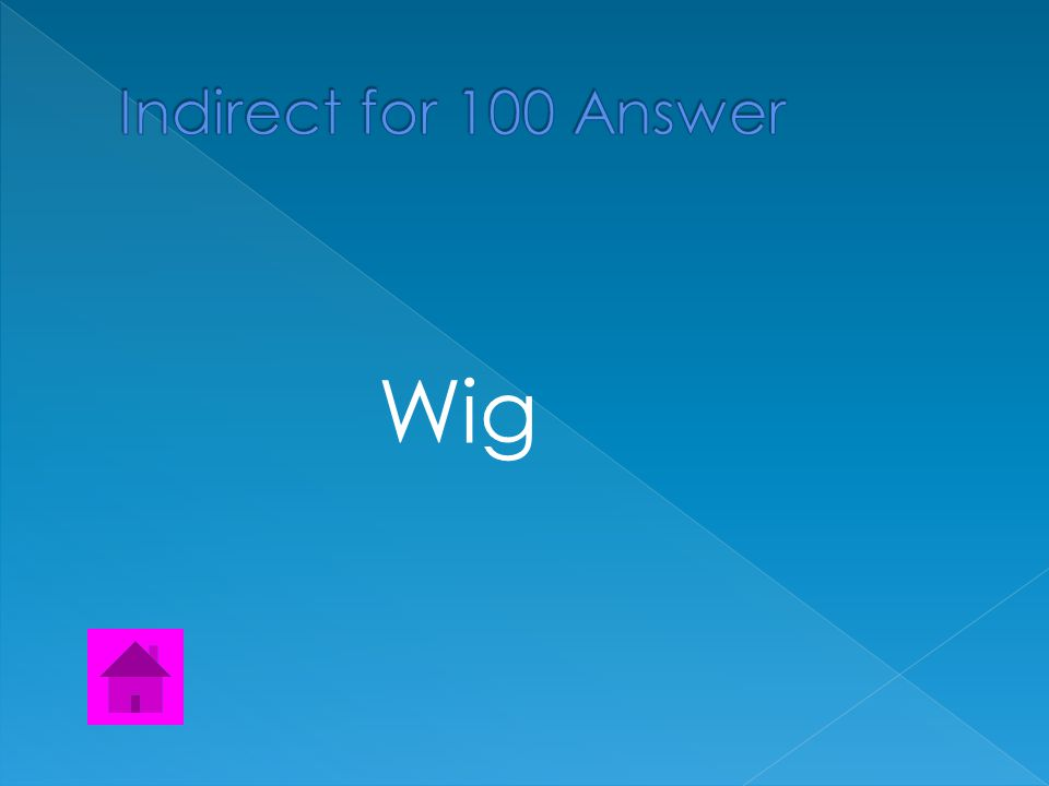  Find the Indirect object  Kelly gave the wig to Sam to wear for the costume party.