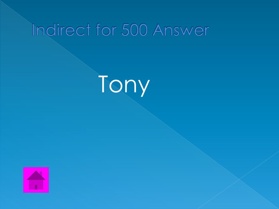 Find the Indirect Object The official gave Tony a medal when he won the final game.