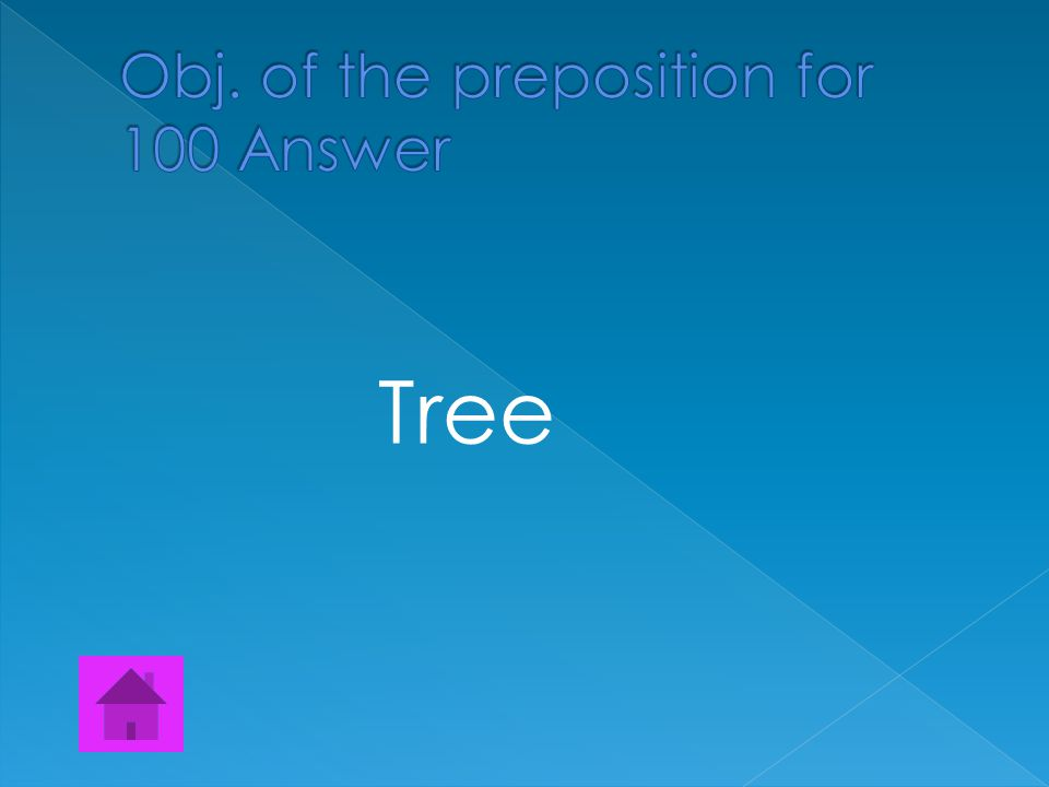  Find all the Objects of the prepositions The cat ran under the tree.
