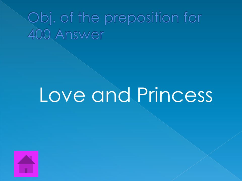  Find all the Objects of the prepositions The prince was in love with the lowly princess, but they can never be together.
