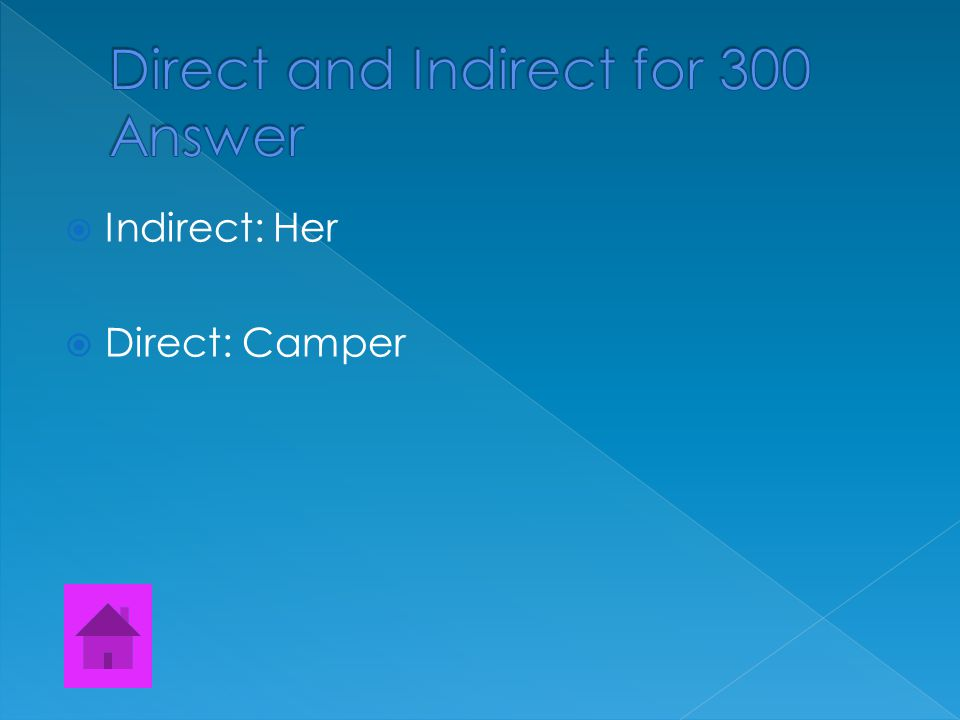  Find both the direct and the indirect object.  Those students made her a unhappy camper.