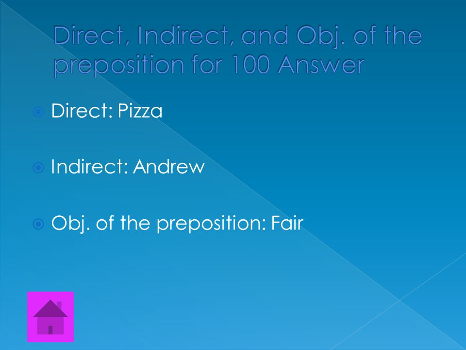 Find the Direct, Indirect, and Object of the preposition. Alex baked Andrew a pizza for the fair.
