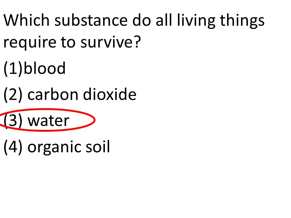 Which substance do all living things require to survive? (1)blood (2) carbon dioxide (3) water (4) organic soil