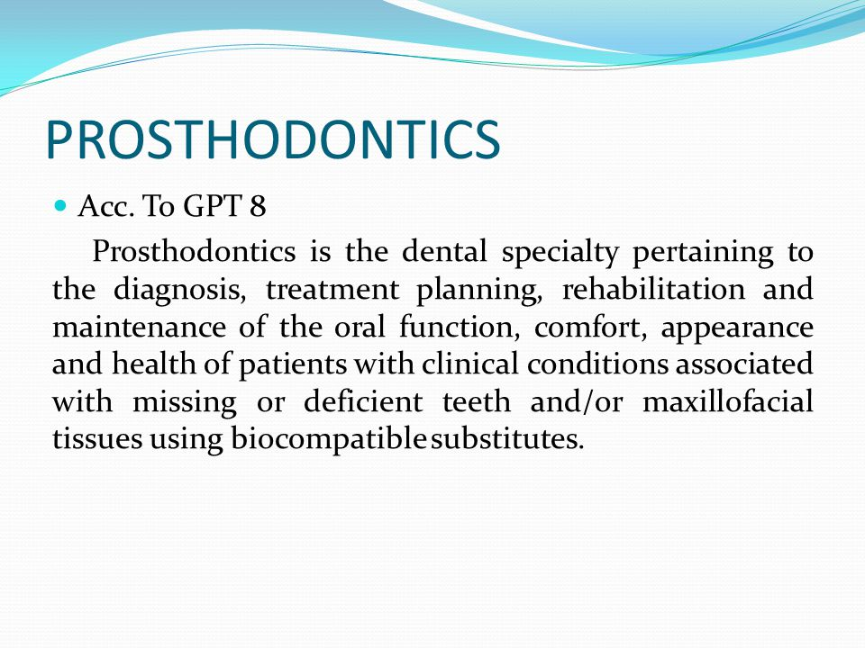 Multiple choice questions 1.Which of the following is not a part of prosthodontics.