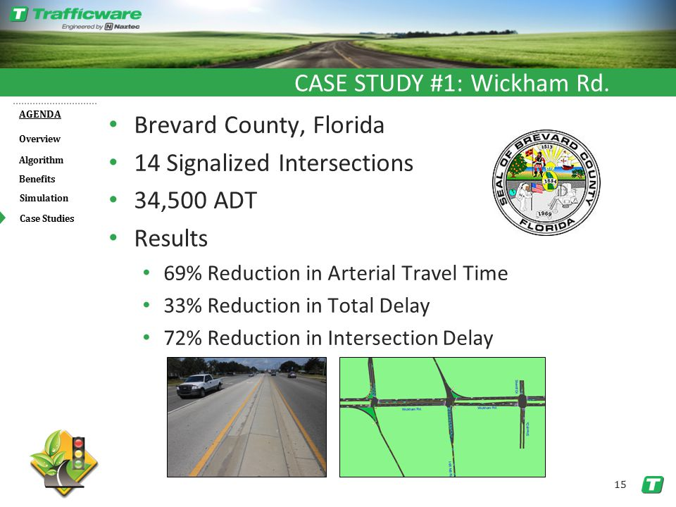 Overview AGENDA Benefits Algorithm Simulation 15 Case Studies Brevard County, Florida 14 Signalized Intersections 34,500 ADT Results 69% Reduction in Arterial Travel Time 33% Reduction in Total Delay 72% Reduction in Intersection Delay CASE STUDY #1: Wickham Rd.