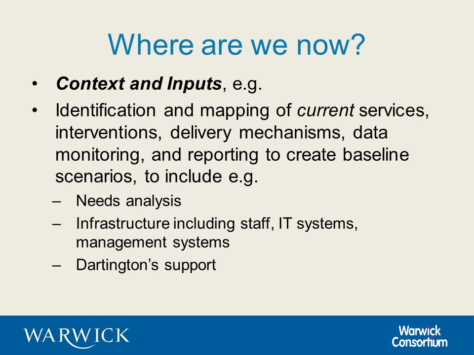 Where are we now? Context and Inputs, e.g. Identification and mapping of current services, interventions, delivery mechanisms, data monitoring, and re
