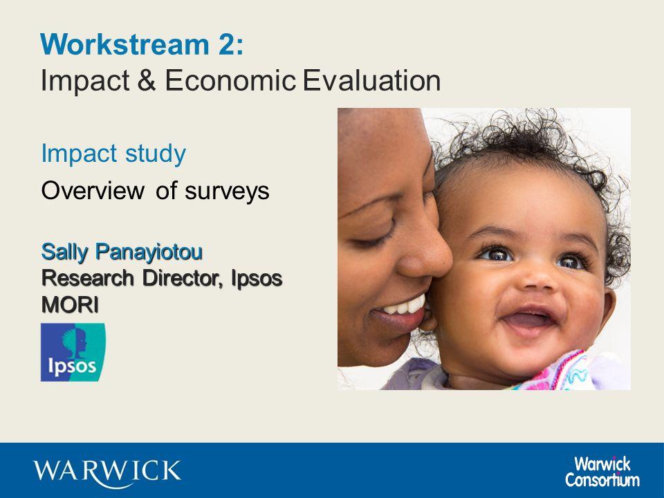 Workstream 2: Impact & Economic Evaluation Impact study Overview of surveys Sally Panayiotou Research Director, Ipsos MORI