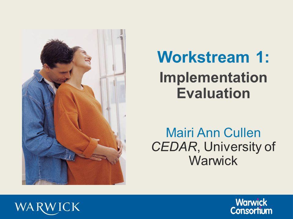 Workstream 1: Implementation Evaluation Mairi Ann Cullen CEDAR, University of Warwick