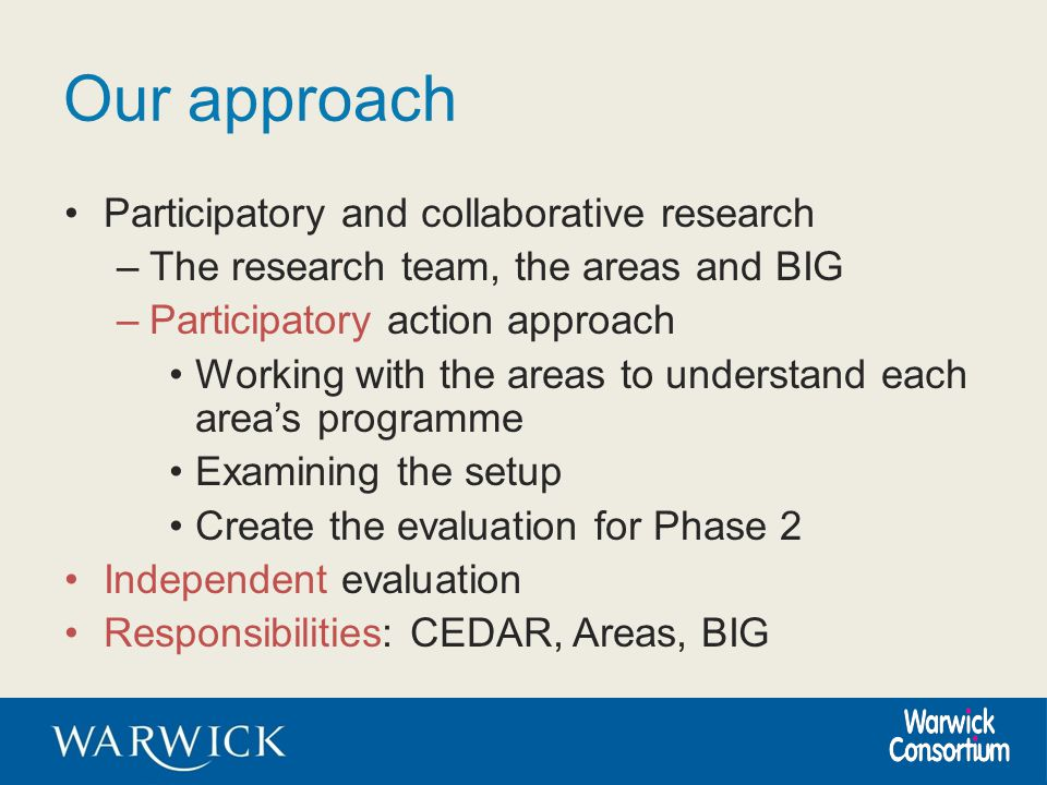 Our approach Participatory and collaborative research –The research team, the areas and BIG –Participatory action approach Working with the areas to u