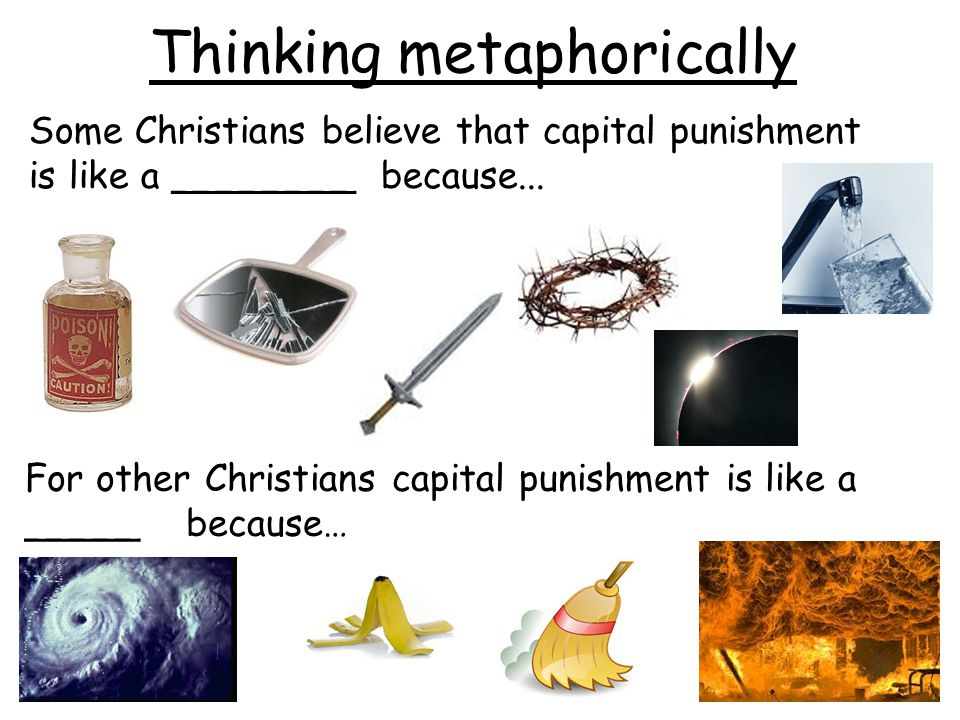 Thinking metaphorically Some Christians believe that capital punishment is like a ________ because... For other Christians capital punishment is like