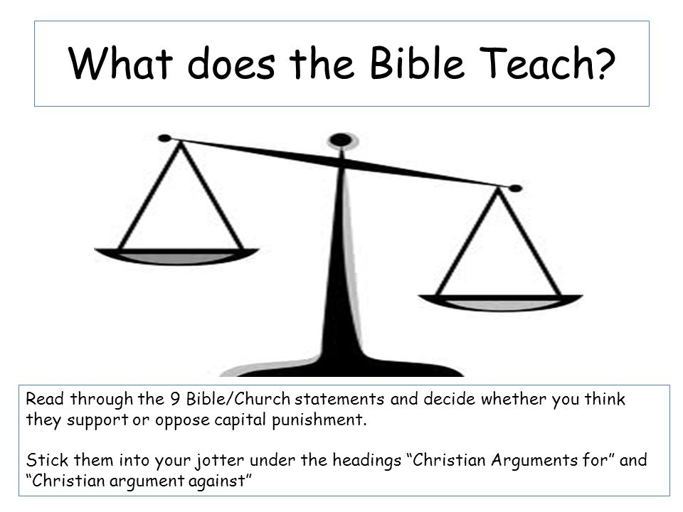 What does the Bible Teach? Read through the 9 Bible/Church statements and decide whether you think they support or oppose capital punishment. Stick th