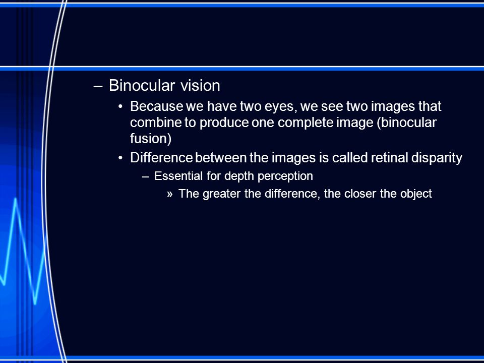 –Binocular vision Because we have two eyes, we see two images that combine to produce one complete image (binocular fusion) Difference between the images is called retinal disparity –Essential for depth perception »The greater the difference, the closer the object