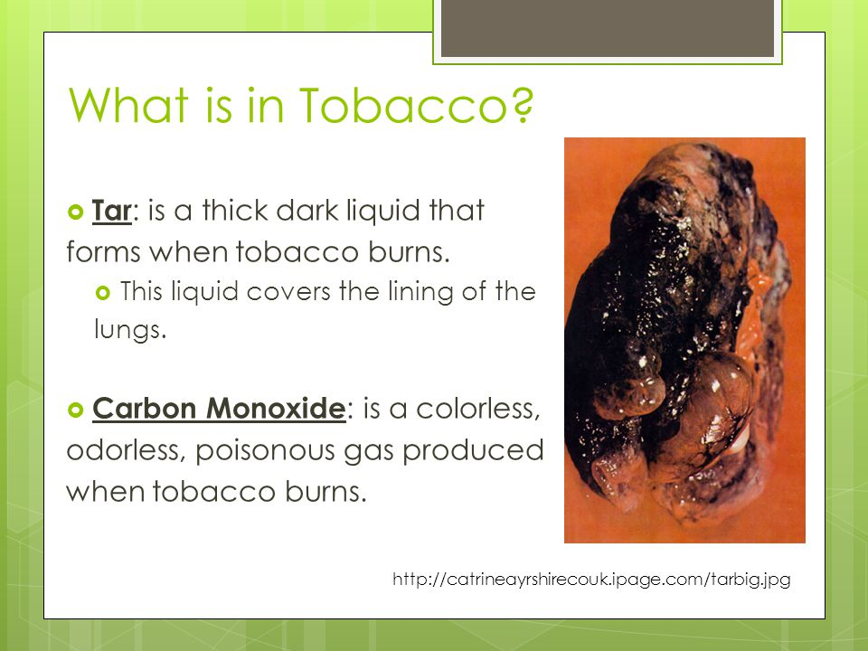 What is in Tobacco?  Tar : is a thick dark liquid that forms when tobacco burns.  This liquid covers the lining of the lungs.  Carbon Monoxide : is